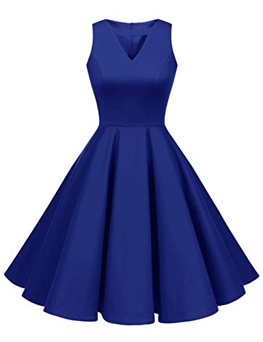 (AONOUR 0060 Women's Rockabilly Vintage Prom Dress 1950s Retro Cocktail Swing Party Dress Sleeveless V Neck RoyalBlue 3XL)