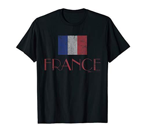 Vintage French France Paris Flag T Shirt Men Women and Kids ()