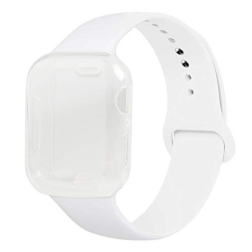 Henstar Compatible with Apple Watch Band 40mm 44mm, Soft Silicone Sport Strap Replacement Band with Apple Watch Screen Protector Protective Case Compatible with iWatch Series 4 (White, 40mm S/M)