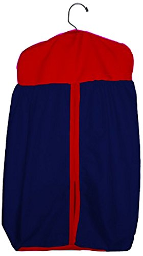(Baby Doll Bedding Solid Two tone Diaper Stacker, Navy/Red)