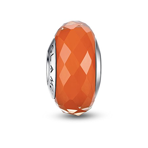 Glamulet Art - Orange Rhombic Facets Murano Glass Beads Charm -- 925 Sterling Silver -
