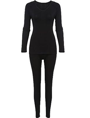 Women's Thermal Underwear Set Long Sleeve Top and Long Pants Bottom Sleepwear
