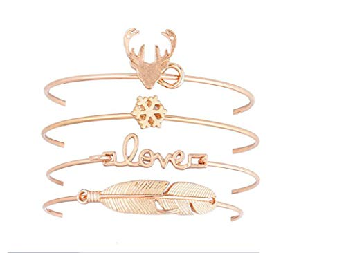 SHILINWEI 4 Pcs/Set Retro Women Love Heart Arrow Round Crystal Rhinestone Leather Bracelet Set Personality Charm Bohemia Jewelry,4Pcs Set4