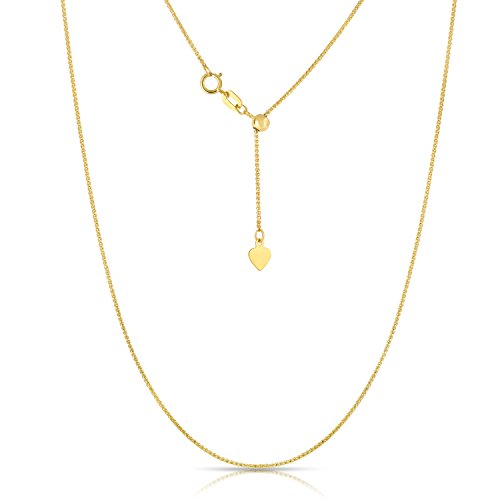 10K Yellow Gold Adjustable Wheat Chain Necklace, 24 Inch (Ring Wheat Gold)