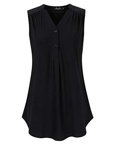 AMZ PLUS Women's Plus Size Sleeveless Polka Dot Tunic Tops Loose Blouse V Neck Casual Shirts Black4XL ()