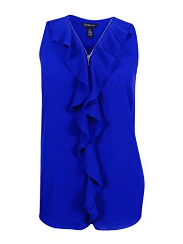 INC Womens Plus Chiffon Cascade Ruffle Blouse Blue 2X Chiffon Cascade