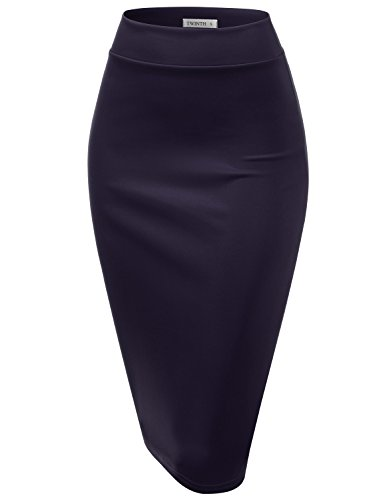 - CLOVERY Women's Basic Comfort Stretch Cotton Elastic Waist Knee Length Pencil Skirt Navy M