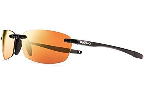 Revo Descend E Re4060gf Polarized Rectangular Sunglasses, Black, 64 mm by Revo