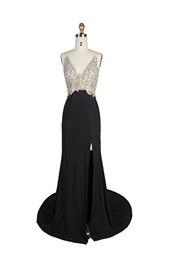 Miss Chics Women Side Slit V-neck Backless Beaded Prom Dresses Evening Dresses(10,Black) by Miss Chics (Image #2)