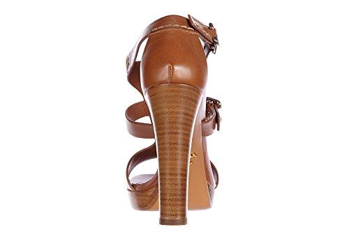 Prada sandalias de tacón mujer en piel nuevo ternegro lux marrón
