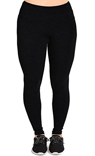 Womens Plus Size Cotton Solid Full Length Leggings (1X to 5X)