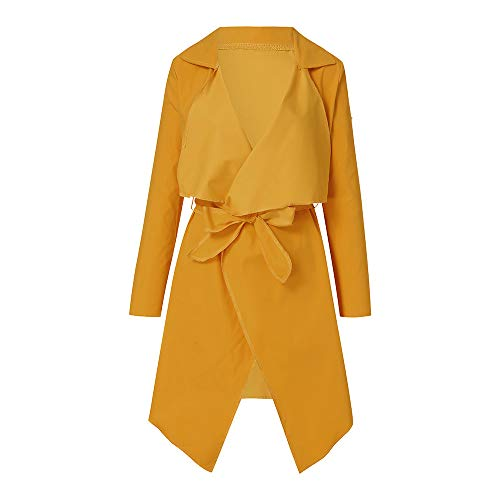 NUWFOR Women's Loose Solid Irregular Hem with Lapel Coat Trench Coat Cardigan Tops(Yellow,S) by NUWFOR (Image #1)