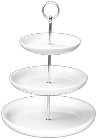 wei/ß//silber 25 cm Holst Porzellan Etagere mit 2 Ebenen 24 cm Porzellan