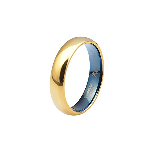 AW Comfort Fit Domed Tungsten Carbide Ring Classic Wedding Band Engagement Ring, Gold Ring, 5mm Size 6.5