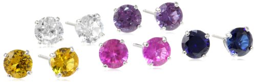 Sterling Silver 6mm Round Created Blue, Yellow, Pink, Purple, White Sapphire Stud Earrings, Set of 5