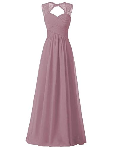 93adabbe90d Quality Bridesmaid Dresses Illusion Lace Strap Long Pleated Chiffon Formal  Dress