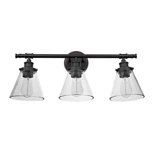 Globe Electric Parker 3 Oil Rubbed Bronze Vanity Light with Clear Glass Shades 51411