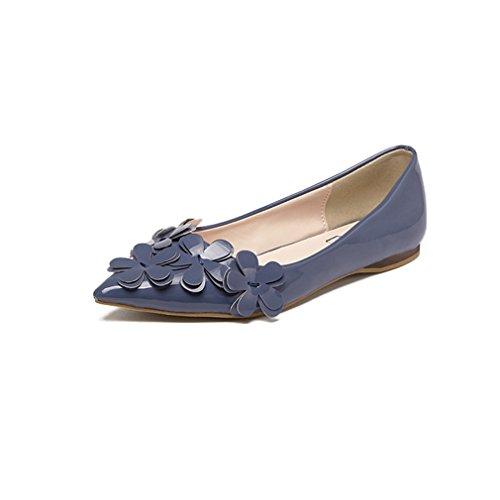 Giy Kvinna Spetsig Tå Loafers Lägenheter Komfort Slip-on Klassiska Tillfälliga Balettklänning Dagdrivaren Blommor Skor Blå