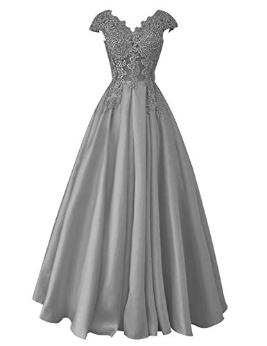 Prom Steel Grey Beaded Women's Lace Sleeves Bess Bridal Wedding Long Dress Cap Evening R0wpH4Knq