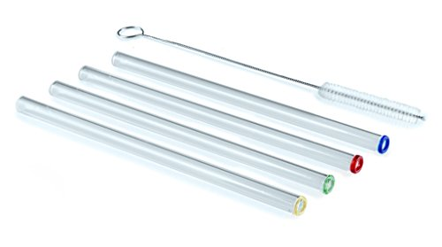 Transcendence Glass Straws Colored-tipped 9