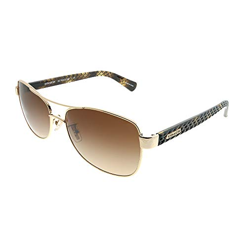 Coach Women's HC7054 Sunglasses Light Gold/Dark Tortoise/Brown Gradient ()