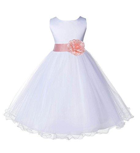 Wedding Pageant White Flower Girl Rattail Edge Tulle Dress 829s (8, bellini peach)
