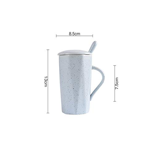 Coffee Mug With Covered Spoon Northern Europe Originality Ceramics Geometry Mug Home Office Water Cup Gift,blue,301-400ml