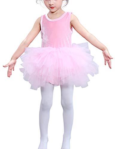Toddler Girls Camisole Ballet Tutu Dress Velvet Ballerina Costume Gymnastics Dance Leotards Pink 2t