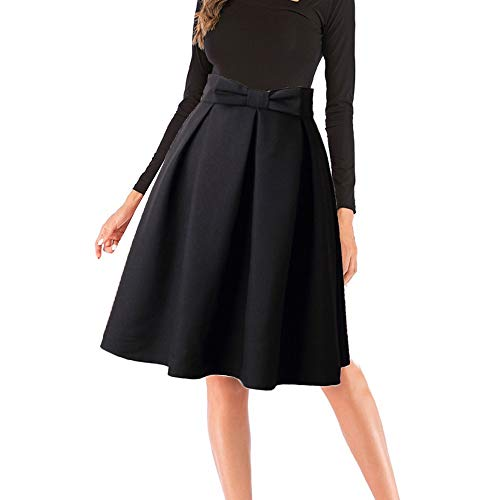 Skirts for Women's❤️Sharemen❤️Plus Size Solid Flare Hem High Waist Midi Skirt Sexy Uniform Pleated Skirt(Black,S)