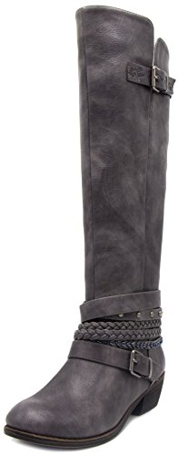 Gray Leather Boots - Sugar Women's Tia Tall Shaft Riding Boot with Buckles and Woven Wraparounds 8 Charcoal