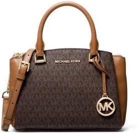 MICHAEL Michael Kors MK Signature Maxine Small Leather Messenger Bag Handbag Brown NEW