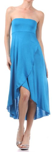 Sakkas 0326 Soft Jersey Feel Solid Color Strapless High Low Dress/Skirt - Turquoise/X-Large -