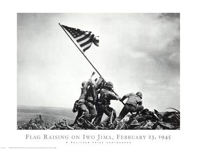 (Flag Raising on Iwo Jima, February 23, 1945 by Joe Rosenthal - 32x24 Inches - Art Print Poster)