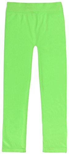 Little Girl's Spandex Ankle Length Neon Leggings Girls Tights, Neon Green -