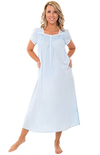 Alexander Del Rossa Womens 100% Cotton Lawn Nightgown, Cap Sleeve Sleep Dress, Small Light Blue (A0585LBLSM) ()