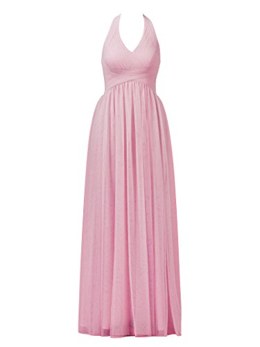 Ruched Halter Party Tulle Pink Prom Alicepub Dresses Bridesmaid Gown Evening Sea Maxi Dress FwqCwgId