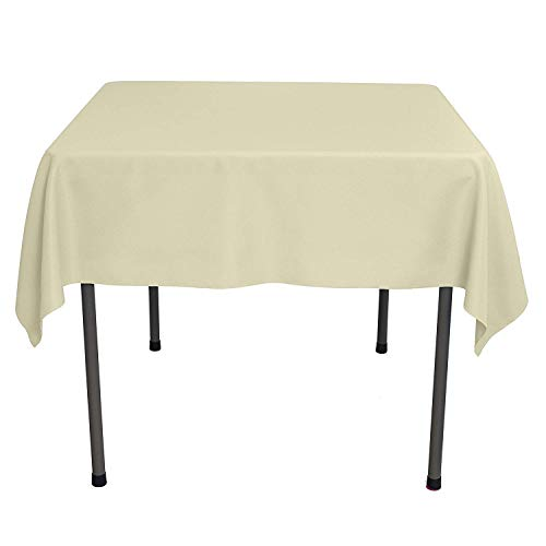 GlaiEleh Square Tablecloth - 54 x 54 Inch - Beige Square Table Cloth for Square or Round Tables in Washable Polyester - Great for Buffet Table, Parties, Holiday Dinner, Wedding & More - Tablecloth Beige Square