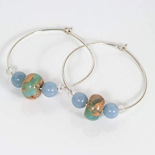 Sterling Silver Hoops with Angelite, African Terra Jasper and Rock Crystals