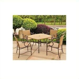 (JumpingLight Valencia 5 Piece Patio Dining Set in Honey Pecan Durable and Ideal for Patio and Backyard)