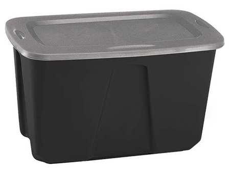 Storage Tote, 32 gal., Black/Gray