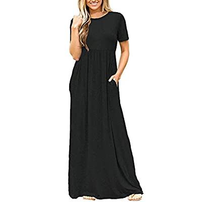 DEARCASE Women Short Sleeve Loose Plain Maxi Dresses Casual Long Dresses with Pockets at Women's Clothing store