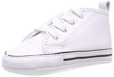 Converse First Star Hi White Leather 81229 Crib Size 2 - Hi Star Leather Sneaker