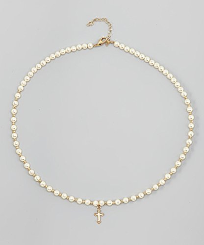Christening Gold-filled Cross Charm with Cream Swarovski Simulated Pearls Luxury Infant Necklace (NGC)