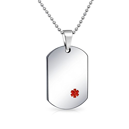 Bling Jewelry Medical Alert Id Dog Tag Pendant Engravable Necklace for Men for Stainless Steel Bead Chain 20 Inches