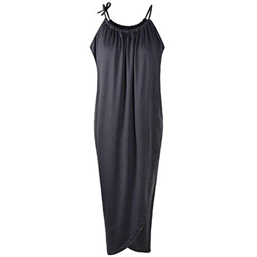 robe a echarpe fine - SODIAL(R) Nouveau femmes robe a echarpe fine Ourlet irregulier Drape Maxi ROBE pour la fete plage Boho Sundress sans Ceinture Noire S