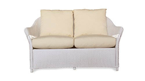 Lloyd Flanders 72250-001-704 Freeport Collection Love Seat in White Loom Finish, Meander Mediterranean by Lloyd Flanders