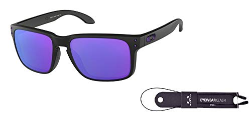 Oakley Holbrook OO9102 910226 57M Matte Black Julian Wilson/Violet Iridium Sunglasses For Men For Women+ BUNDLE with Oakley Accessory Leash Kit (Lila Frame Oakleys)