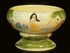 16 Ounce Small Ceramic Hula Girl Compote Bowl