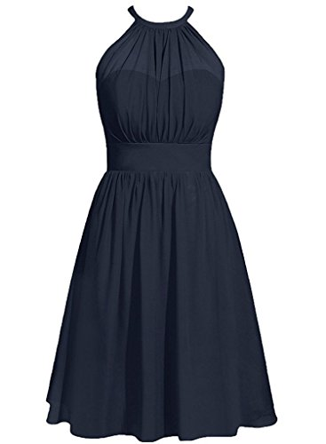 Party Prom Gowns Guest AN88 Navy Short Bridesmaid Halter Wedding Dresses Chiffon Anlin C0BCH