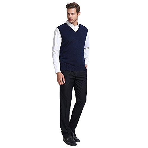 CHAUDER Men's Relax Fit V-Neck Vest Knit Sweater Cashmere Wool Blend Navy Blue, L by CHAUDER (Image #3)